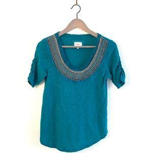 Anthropologie Deletta Tee Top Embellished Neck